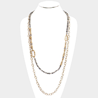 Multi Bead Chain Layered Long Necklace