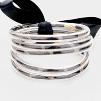 5PCS - Leopard Jelly Tube Bangle Bracelet