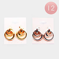 12PCS - Open Circle Metal Earrings