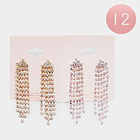 12PCS - Rhinestone Statement Fringe Earrings