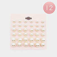 12 Set of 18 - Pearl Stud Earrings
