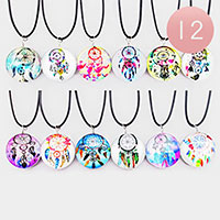 12PCS - Dream Catcher Round Pendant Cord Necklaces