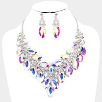 Crystal Marquise Cluster Vine Evening Necklace