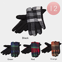 12PAIRS -  Multi Plaid Smart Gloves