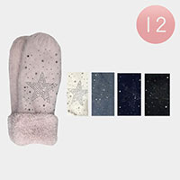 12PAIRS - Rhinestone Star Decor  Gloves