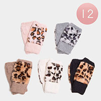 12PCS - Leopard Fingerless Fur Glove