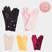 12PAIRS - Solid Color Sherpa Smart Gloves
