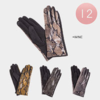 12PAIRS - Faux Leather Snake Pattern Smart Gloves