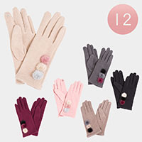 12PAIRS - Pom Pom Deco Smart Gloves