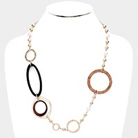 Wood Metal Open Circle Pearl Necklace