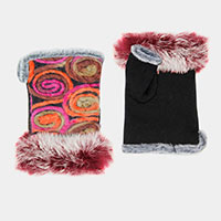 Embroidery Fingerless Fur Glove