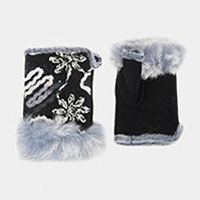 Flower Embroidery Fingerless Fur Gloves
