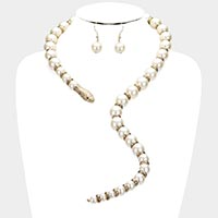 Pearl Beaded Snake Open Necklace
