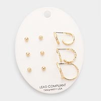 6Pairs - Textured Metal Ball Stud / Hoop Earrings