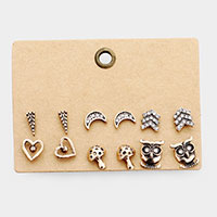6Pairs - Burnished Metal Rhinestone Pave Stud Earrings