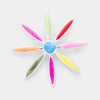 Colorful Enamel Flower Metal Brooch / Pendant