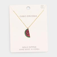 Gold Dipped CZ Watermelon Pendant Necklace