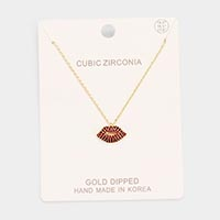 Gold Dipped CZ Lip Pendant Necklace