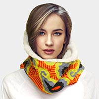 Colorful Pattern Soft Sherpa Infinity Scarf