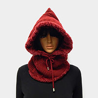 Plain Crochet Infinity Scarf Soft Sherpa Hooded Hat