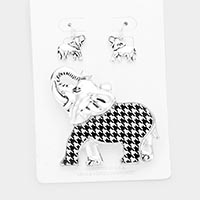 Houndstooth Pattern Elephant Magnetic Pendant Set