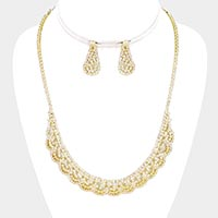 Rhinestone Crystal Draped Statement Necklace
