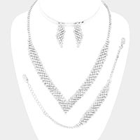 3PCS - Rhinestone Pave V Shape Necklace Jewelry Set