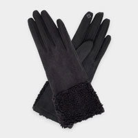 Fatty Nubby Wrist Fur Accent Faux Suede Smart Gloves