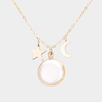 Star and Moon Mother of Pearl Pendant Necklace