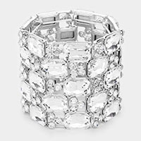 Emerald Cut Crystal Stretch Evening Bracelet