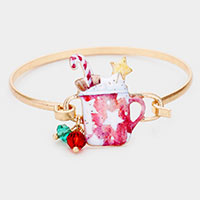 Watercolor Metal Christmas Hot Chocolate Hook Bracelet