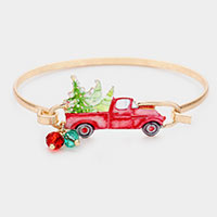 Watercolor Metal Christmas Tree Hook Bracelet