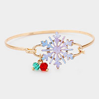 Watercolor Metal Christmas Snowflake Hook Bracelet