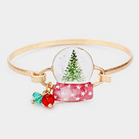 Watercolor Metal Christmas Tree Water Globe Hook Bracelet