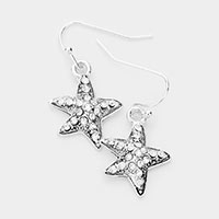 Rhinestone Pave Antique Sliver Metal Starfish Dangle Earrings