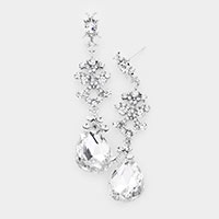 Sprout Rhinestone Pave Teardrop Crystal Drop Evening Earrings