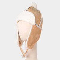 Faux Suede Trapper Sherpa Sling Hat