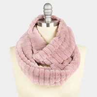 Stripe Textured Fur Infinity Scarf