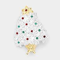 Christmas Tree Rhinestone Pave Pin Brooch / Pendant