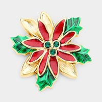 Christmas Flowers Poinsettia Pin Brooch / Pendant