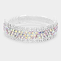 Round Crystal Rhinestone Adjustable Evening Bracelet