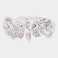 Round Crystal Floral Rhinestone Adjustable Evening Bracelet