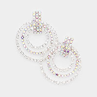 Rhinestone Pave Triple Open Circle Evening Earrings