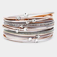 Multi Layered Beaded Faux Leather Magnetic Bracelet