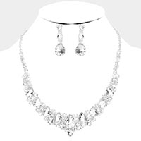 Teardrop Crystal Statement Evening Necklace