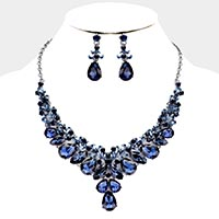 Teardrop Marquise Crystal Statement Evening Necklace