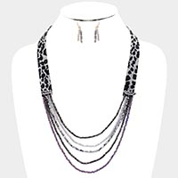 Faux Leather Leopard Crystal Bead Bib Necklace