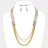 Faux Leather Crystal Bead Bib Necklace