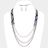 Faux Leather Snake Crystal Bead Bib Necklace