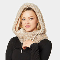 Teddy String Closure Scarf Hooded Hat